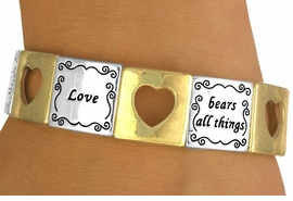 """<br>                  EXCLUSIVELY OURS!<br>   W10729B - POLISHED TWO-TONE<br>""""LOVE"""" & CUT-OUT HEART STRETCH<Br>    BRACELET FROM $5.63 TO $12.50"""