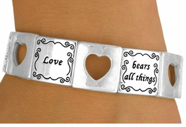 """<bR>                  EXCLUSIVELY OURS!<br>W10730B - POLISHED SILVER-TONE<br>""""LOVE"""" & CUT-OUT HEART STRETCH<Br>   BRACELET FROM $5.63 TO $12.50"""