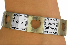 """<br>                 EXCLUSIVELY OURS!<br>       W10731B - MATTE TWO-TONE<br>""""LOVE"""" & CUT-OUT HEART STRETCH<Br>   BRACELET FROM $5.63 TO $12.50"""