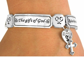 """<BR>               EXCLUSIVELY OURS!!!<BR>            W10755B - SILVER TONE<BR>        """"THE GIFT OF GOD..."""" HEART<br>& CROSS DROP STRETCH BRACELET<Br>              FROM $5.63 TO $12.50"""