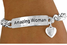 """<BR>                   EXCLUSIVELY OURS!!!<BR>W11241B -  """"AMAZING WOMAN"""" & PUFF<bR>      HEART  BRACELET AS LOW AS $6.75"""