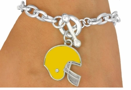 <Br>                    EXCLUSIVELY OURS!!!<BR>W11494B - YELLOW FOOTBALL HELMET<br>    TOGGLE BRACELET AS LOW AS $2.45