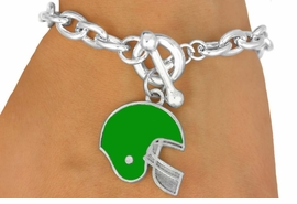 <Br>                    EXCLUSIVELY OURS!!!<BR>W11495B - GREEN FOOTBALL HELMET<br> TOGGLE BRACELET AS LOW AS $2.45