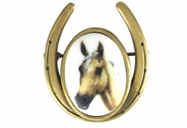 <Br>                 EXCLUSIVELY OURS!!!<br>    W11717P - ANTIQUE GOLD FINISH<br>HORSESHOE AND PALOMINO HORSE<Br>                  PIN AS LOW AS $5.90