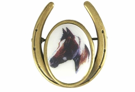 <Br>                      EXCLUSIVELY OURS!!!<br>        W11718P - ANTIQUE GOLD FINISH<br>HORSESHOE AND PAINT COLORED HORSE<Br>                       PIN AS LOW AS $5.90