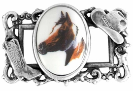 "<bR>                  EXCLUSIVELY OURS!!!<BR>W11746P - STERLING SILVER PLATED<Br>   COWBOY HAT & BOOT ""FRAME"" &<bR>          PAINT HORSE OVAL PICTURE<Br>                  PIN AS LOW AS $6.90"