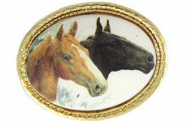<BR>                    EXCLUSIVELY OURS!!!<BR>W11844P -TAN & BLACK HORSE HEADS<Br>GOLD TONE OVAL PIN AS LOW AS $5.60