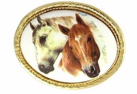 <bR>                    EXCLUSIVELY OURS!!!<BR>    W11845P - BROWN & WHITE HORSE<Br>GOLD TONE OVAL PIN AS LOW AS $5.60