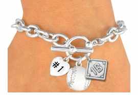 "<Br>               EXCLUSIVELY OURS!<BR>W19361B - POLISHED SILVER TONE<br> ""#1"" HEART,  WHITE BASEBALL & <BR>  PLAYERS  POSITION ON DIAMOND <br> 3 CHARMS AND TOGGLE BRACELET <Br>               FROM $4.50 TO $10.00"