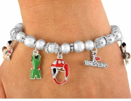 "<BR>                !!EXCLUSIVELY OURS!!<br>    W7327B - POLISHED SILVER TONE<br>  MULTI CHARM ""I LOVE WRESTLING""<BR>STRETCH BRACELET AS LOW AS $6.30"