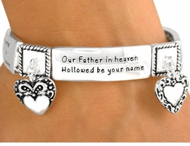 """<Br>                  EXCLUSIVELY OURS!<bR> W9363B - POLISHED SILVER FINISH<Br>MATTHEW 6:10, """"LORD'S PRAYER"""" &<BR>  HEART CHARM STRETCH BRACELET<bR>               FROM $7.31 TO $16.25"""