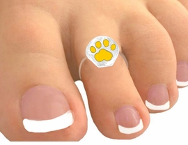<Br>            EXCLUSIVELY OURS!<br>  W9510TR - CANARY YELLOW<br>PAW PRINT STRETCH TOE RING<bR>                AS LOW AS $1.30
