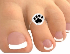 <Br>            EXCLUSIVELY OURS!<bR>      W9513TR - RAVEN BLACK<br>PAW PRINT STRETCH TOE RING<bR>                 AS LOW AS $1.30