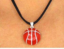 <Br>                   EXCLUSIVELY OURS!<BR>W9526N - UNISEX SUEDE-LIKE CORD<Br>     & BASKETBALL DROP NECKLACE<bR>                     AS LOW AS $3.05