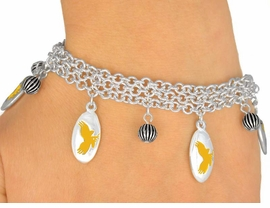 <Br>                  EXCLUSIVELY OURS!<bR>     W9550B - MIRROR SILVER TONE<BR>YELLOW MASCOT-EAGLES-FALCONS<Br>             HAWKS BRACELET FROM<Br>                      $5.06 TO $11.25
