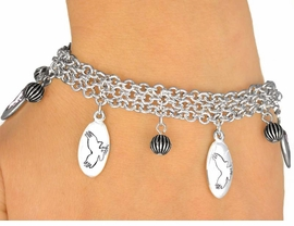 <Br>                EXCLUSIVELY OURS!<bR>    W9555B - MIRROR SILVER TONE<BR> WHITE MASCOT-EAGLES-FALCONS<Br>           HAWKS BRACELET FROM<Br>                     $5.06 TO $11.25