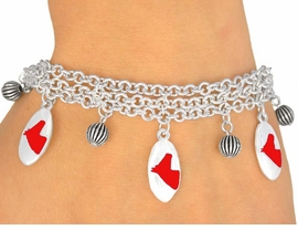 <Br>                   EXCLUSIVELY OURS!<bR>     W9593B - MIRROR SILVER TONE<BR> RED COLTS -MUSTANGS-BRONCOS<Br>    BRACELET FROM $5.06 TO $11.25
