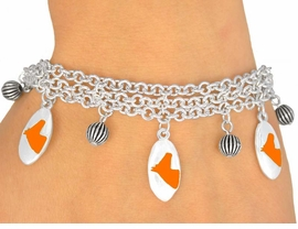 <Br>                      EXCLUSIVELY OURS!<bR>        W9595B - MIRROR SILVER TONE<BR>ORANGE COLTS -MUSTANGS-BRONCOS<Br>        BRACELET FROM $5.06 TO $11.25