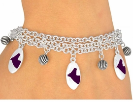 <Br>                     EXCLUSIVELY OURS!<bR>        W9599B - MIRROR SILVER TONE<BR>PURPLE COLTS -MUSTANGS-BRONCOS<Br>       BRACELET FROM $5.06 TO $11.25