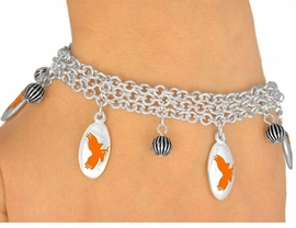 <Br>                  EXCLUSIVELY OURS!<bR>     W9601B - MIRROR SILVER TONE<BR>ORANGE MASCOT-EAGLES-FALCONS<Br>             HAWKS BRACELET FROM<bR>                       $5.06 TO $11.25