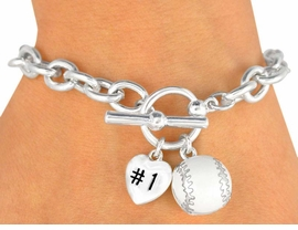 "<Br>               EXCLUSIVELY OURS!<BR>W9711B - POLISHED SILVER TONE<br> ""#1"" HEART & BASEBALL CHARM<br>         TOGGLE BRACELET FROM<Br>                    $3.60 TO $8.00"