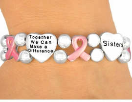 "<br>                      EXCLUSIVELY OURS!<br>W9715B - ""TOGETHER WE CAN..."" HEART<br>   & PINK AWARENESS RIBBON STRETCH<BR>          BRACELET ""SISTERS, MOTHERS, <BR>      DAUGHTERS"" FROM $6.75 TO $15.00"