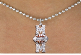 """<BR>  FOOTBALL MOM NECKLACE WHOLESALE <bR>                    EXCLUSIVELY OURS!! <Br>               AN ALLAN ROBIN DESIGN!! <BR>      CLICK HERE TO SEE 1000+ EXCITING <BR>            CHANGES THAT YOU CAN MAKE! <BR>         LEAD, NICKEL & CADMIUM FREE!! <BR>    W1476SN - SILVER TONE FOOTBALL """"MOM"""" <BR> CLEAR & TOPAZ CRYSTAL CHARM NECKLACE <BR>             FROM $5.40 TO $9.85 �2013"""