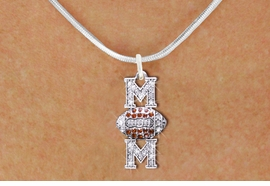 "<BR>  FOOTBALL MOM NECKLACE WHOLESALE <bR>                    EXCLUSIVELY OURS!! <Br>               AN ALLAN ROBIN DESIGN!! <BR>      CLICK HERE TO SEE 1000+ EXCITING <BR>            CHANGES THAT YOU CAN MAKE! <BR>         LEAD, NICKEL & CADMIUM FREE!! <BR>    W1476SN - SILVER TONE FOOTBALL ""MOM"" <BR> CLEAR & TOPAZ CRYSTAL CHARM NECKLACE <BR>             FROM $5.40 TO $9.85 �2013"