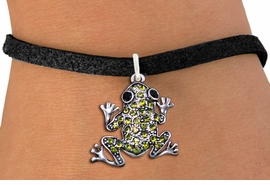 <BR>                      FROG JEWELRY<bR>                EXCLUSIVELY OURS!! <Br>           AN ALLAN ROBIN DESIGN!! <BR>  CLICK HERE TO SEE 1000+ EXCITING <BR>        CHANGES THAT YOU CAN MAKE! <BR>     LEAD, NICKEL & CADMIUM FREE!! <BR> W1442SB - SILVER TONE, JET AND LIME <BR> GREEN CRYSTAL FROG CHARM & BRACELET <BR>         FROM $5.40 TO $9.85 �2013