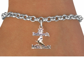 "<BR>"" If I Believe It, I Can Do It! "" ICE SKATING ADJUSTABLE CHAIN BRACELET<BR>                            AN ORIGINAL ALLAN ROBIN CUSTOM DESIGN<br>                                          WHOLESALE CHARM BRACELET <BR>                                        LEAD, CADMIUM & NICKEL FREE!!  <BR>              W21542B-HIGH POLISHED, BRIGHT ADJUSTABLE SILVER TONE  <BR>                                BRACELET FROM $4.50 TO $8.35 EACH! ©2015"