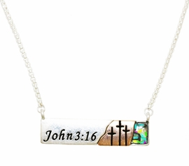 "<BR>        John 3:16 ""For God So Loved The World That He Gave His One And Only Son<BR>               That Whoever Believes In Him Shall Not Perish But Have Eternal Life"", <BR>Mother Of Pearl, Silvertone Bar,  Necklace, Hypoallergenic Safe- No Nickel, Lead, Or<BR>                              Poisonous Cadmium From $9.78 To $12.38  �2018 <BR>                                                                       W29427N12"