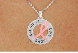 <BR>                 LEAD AND NICKEL FREE! <BR>                   ALLAN ROBIN DESIGN<BR>                  ASSEMBLED IN THE USA<BR>        W17399N - LIVE LOVE LAUGH PINK <BR>        RIBBON RING CHARM & CHAIN<BR>           NECKLACE FROM $4.73 TO $10.50<br>                                   ©2010