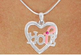 "<BR>                 LEAD AND NICKEL FREE! <BR>                   ALLAN ROBIN DESIGN<BR>                  ASSEMBLED IN THE USA<BR>         W17411N - ""HOPE"" PINK RIBBON <BR>  AWARENESS HEART CHARM & SNAKE <BR>    CHAIN NECKLACE FROM $4.73 TO $10.50<br>                                   ©2010"