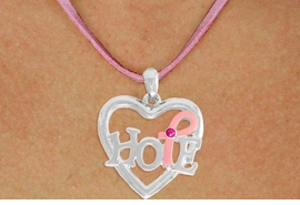 "<BR>                 LEAD AND NICKEL FREE! <BR>                   ALLAN ROBIN DESIGN<BR>                  ASSEMBLED IN THE USA<BR>         W17412N - ""HOPE"" PINK RIBBON <BR>   AWARENESS HEART CHARM & PINK <BR>    SUEDE NECKLACE FROM $4.73 TO $10.50<br>                                   ©2010"