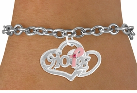 "<BR>                 LEAD AND NICKEL FREE! <BR>                   ALLAN ROBIN DESIGN<BR>                  ASSEMBLED IN THE USA<BR>         W17419B - ""HOPE"" PINK RIBBON <BR>        DOUBLE HEART CHARM & TOGGLE <BR>        BRACELET FROM $4.50 TO $10.00<br>                                   ©2010"