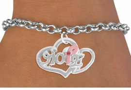 "<BR>                 LEAD AND NICKEL FREE! <BR>                   ALLAN ROBIN DESIGN<BR>                  ASSEMBLED IN THE USA<BR>         W17420B - ""HOPE"" PINK RIBBON <BR>               DOUBLE HEART CHARM & <BR>        BRACELET FROM $4.50 TO $10.00<br>                                   ©2010"