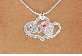 "<BR>                 LEAD AND NICKEL FREE! <BR>                   ALLAN ROBIN DESIGN<BR>                  ASSEMBLED IN THE USA<BR>         W17421N - ""HOPE"" PINK RIBBON <BR>       DOUBLE HEART CHARM & SNAKE <BR>    CHAIN NECKLACE FROM $4.50 TO $10.00<br>                                   ©2010"