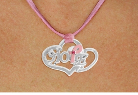 "<BR>                 LEAD AND NICKEL FREE! <BR>                   ALLAN ROBIN DESIGN<BR>                  ASSEMBLED IN THE USA<BR>         W17422N - ""HOPE"" PINK RIBBON <BR>           DOUBLE HEART CHARM & PINK <BR>    SUEDE NECKLACE FROM $4.50 TO $10.00<br>                                   ©2010"