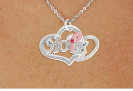 "<BR>                 LEAD AND NICKEL FREE! <BR>                   ALLAN ROBIN DESIGN<BR>                  ASSEMBLED IN THE USA<BR>         W17423N - ""HOPE"" PINK RIBBON <BR>           DOUBLE HEART CHARM & CHAIN<BR>         NECKLACE FROM $4.50 TO $10.00<br>                                   ©2010"