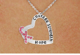 "<BR>                 LEAD AND NICKEL FREE! <BR>                   ALLAN ROBIN DESIGN<BR>                  ASSEMBLED IN THE USA<BR>      W17430N - ""COURAGE STRENGTH<br>         AND HOPE "" HEART SHAPED <br>      PENDANT ON A CHAIN NECKLACE<br>                FROM $4.73 TO $10.50<br>                                   ©2010"