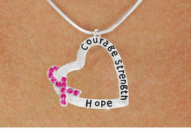 "<BR>                 LEAD AND NICKEL FREE! <BR>                   ALLAN ROBIN DESIGN<BR>                  ASSEMBLED IN THE USA<BR>      W17431N - ""COURAGE STRENGTH<br> AND HOPE "" HEART SHAPED PENDANT<br>         ON A SNAKE CHAIN NECKLACE<br>                   FROM $4.73 TO $10.50<br>                                   ©2010"