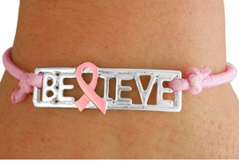 "<BR>                    LEAD AND NICKEL FREE! <BR>                      ALLAN ROBIN DESIGN<BR>            W17394B - SILVER TONE ""BELIEVE"" <BR>       WITH A PINK RIBBON ACCENT STRETCH <BR>                             BRACELET   $.93<br>         MINIMUM QUANTITY 10 BRACELETS                     <BR>                                     ©2010<br>         NO ADDITIONAL DISCOUNTS APPLY"
