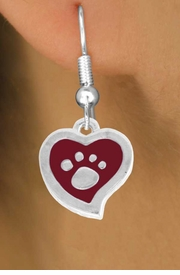 <BR>             LEAD AND NICKEL FREE!  <BR>              ASSEMBLED IN THE USA<BR>  CLICK HERE TO SEE 500+ EXCITING<BR>   CHANGES THAT YOU CAN MAKE!<BR>        W804SE - RED AND SILVER<BR>              PAW HEART EARRING <Br>                FROM $4.50 TO $8.35