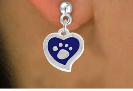 <BR>             LEAD AND NICKEL FREE!  <BR>              ASSEMBLED IN THE USA<BR>  CLICK HERE TO SEE 500+ EXCITING<BR>   CHANGES THAT YOU CAN MAKE!<BR>        W805SE - BLUE AND SILVER<BR>              PAW HEART EARRING <Br>                FROM $4.50 TO $8.35
