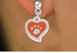 <BR>             LEAD AND NICKEL FREE!  <BR>              ASSEMBLED IN THE USA<BR>  CLICK HERE TO SEE 500+ EXCITING<BR>   CHANGES THAT YOU CAN MAKE!<BR>        W806SE - ORANGE AND SILVER<BR>              PAW HEART EARRING <Br>                FROM $4.50 TO $8.35