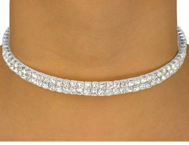 <BR>                   LEAD AND NICKEL FREE!!<BR> W10340N - GENUINE AUSTRIAN CRYSTAL<br>      SILVER TONE DOUBLE-ROW COLLAR<Br>       NECKLACE FROM $20.74 TO $38.28