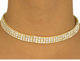 <BR>                  LEAD AND NICKEL FREE!!<BR>W10350N - GENUINE AUSTRIAN CRYSTAL<br>      GOLD FINISH TRIPLE-ROW CHOKER<Br>      NECKLACE FROM $29.25 TO $54.00
