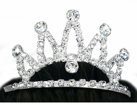 <br>        LEAD AND NICKEL FREE <BR> W10546T - SILVER TONE TRIM<br> GENUINE AUSTRIAN CRYSTAL<br>FIVE-SPIKE TIARA HAIR COMB<Br>           FROM $5.63 TO $12.50