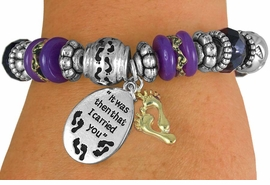 "<BR>                  LEAD AND NICKEL FREE!<BR>         W17254B - ""IT WAS THEN THAT I <br>CARRIED YOU..."" BEAUTIFULLY DETAILED<br>          STRETCH RELIGIOUS FOOTPRINT <br>          BRACELET FROM $7.31 TO $16.25"