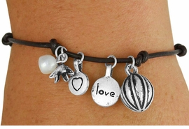 """<br>              LEAD AND NICKEL FREE! <BR> W17259B - KNOTTED LEATHER """"LOVE"""" <BR>     BRACELET FROM $5.63 TO $12.50"""